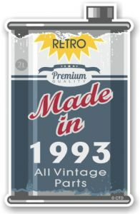 Vintage Aged Retro Oil Can Design Made in 1993 Vinyl Car sticker decal  70x110mm